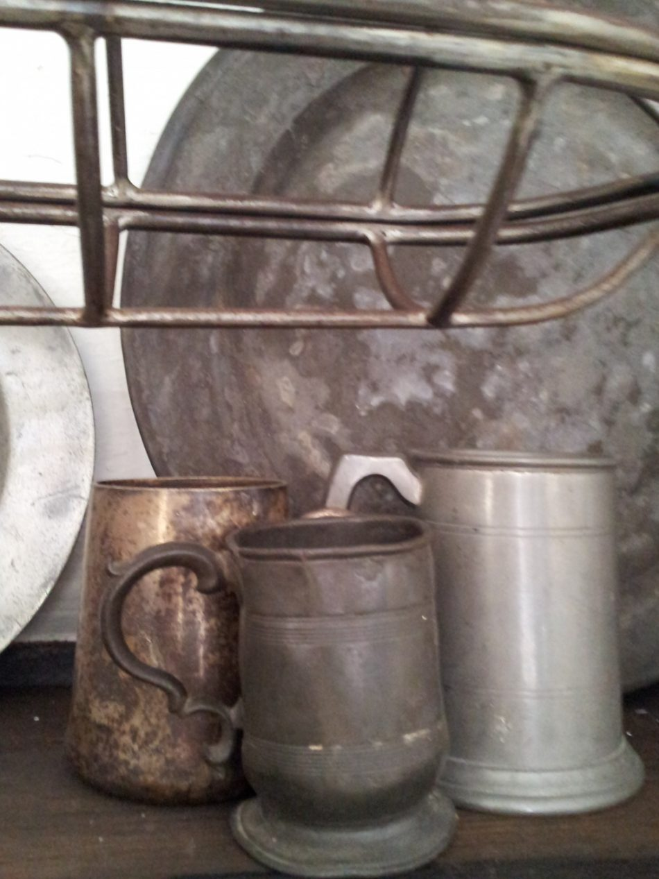 Pewter tankards- being relatively cheap pewter was the main metal for domestic tableware up til 18th century.Sometimes a set of pewter was referred to as a garnish, the worn out pewter could be melted down for new vessels.